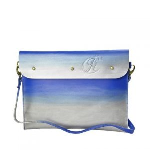 Leather iPad Sleeve carrier blue front
