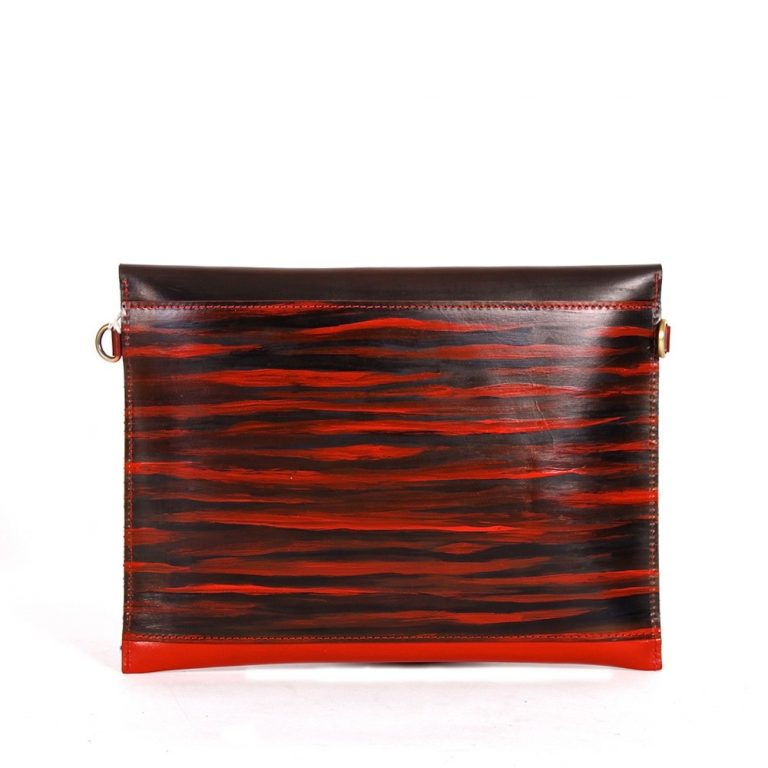 Leather iPad Sleeve carrier louis red rear
