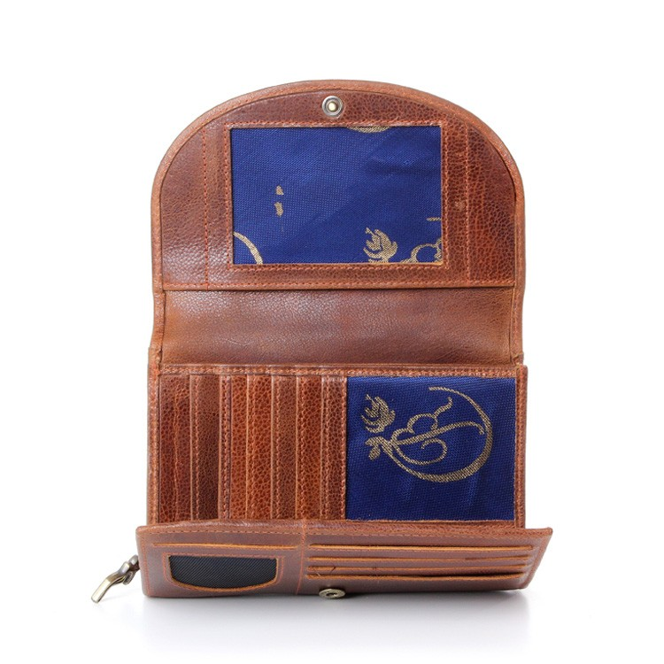 luxury leather purse open