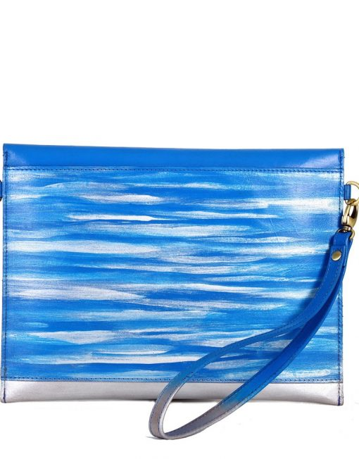 Leather iPad Sleeve carrier blue back
