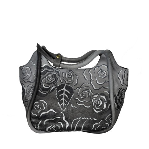 Luxury Leather Hand Painted Handbag pinkerton grey