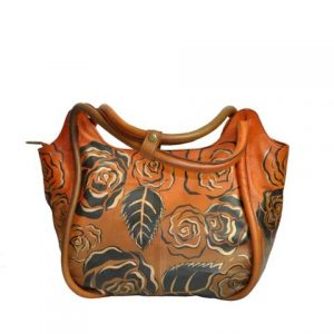 Luxury Leather Hand Painted Handbag pinkerton bronze
