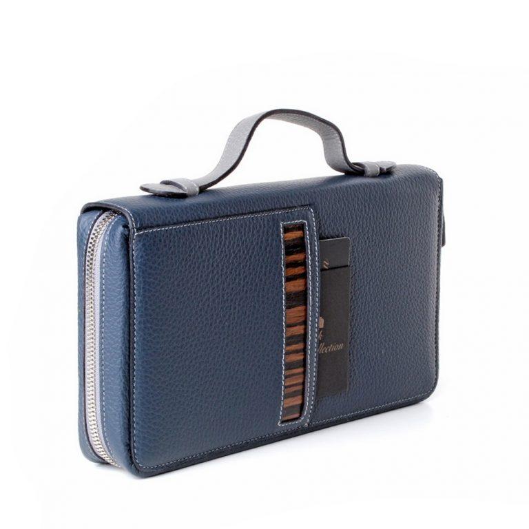 luxury mens portfolio case blue rusalka