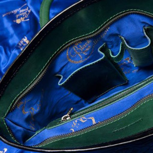 luxury leather bag Vivaldi Green Inside